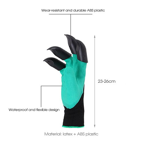 Garden Gloves With Claws ABS Plastic Garden Rubber Gloves Gardening Digging Planting Waterproof Outdoor Gadgets Tools NEW
