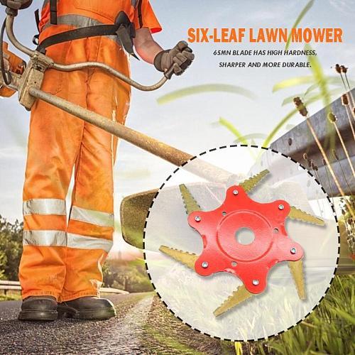6T Blade 65Mn Manganese Steel Brush Cutter Lawn Mower Metal Blades Trimmer Head Garden Grass Trimmer Head For Lawn Mower