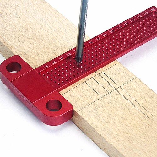 160mm T-160 Measuring Tool Scriber T-type Woodworking Hole Positioning Crossed Gauge Aluminum Alloy Ruler