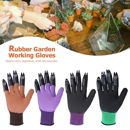 Gardening Garden Gloves With Fingertips Claws Genie Glove Raking Digging Planting with 4 Right Hand Fingertips Sharp+Fork Claws