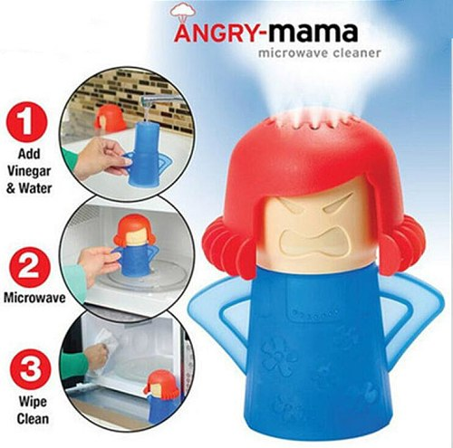 Cute Angry Mama Microwave Oven SteamCleaner High temperature With Vinegar and Water Easy Cleans Household Kitchen Cleaning Tool