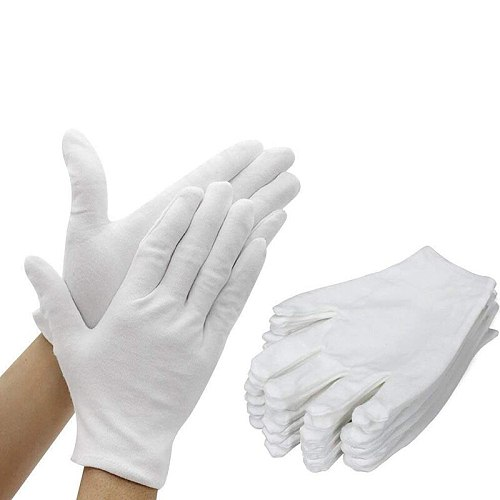 24 Pairs White Cotton Gloves, Thicker and Resuable Works Glove 9.4 Inches for Coin Jewelry Silver Inspection - Large
