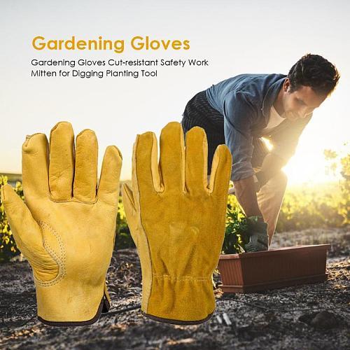 1Pair Heavy Duty Gardening Gloves for Men & Women Thorn Proof Leather Work Gloves, Waterproof Slim-Fit Reinforced Rigger Gloves
