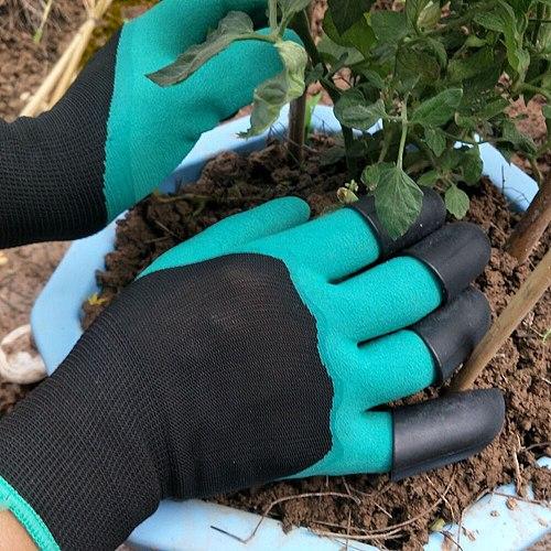 1 Pair ABS Plastic Garden Rubber Gloves Gardening Digging Planting Durable Waterproof Work Glove Outdoor Gadgets