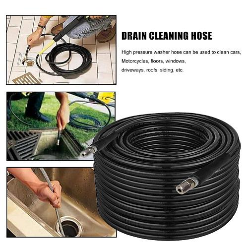 Jetter Nozzles Kit 1/4 Inch 100ft Drain Cleaning Hose Button Nose Rotating Sewer Jetting Nozzle Orifice 4.0 4.5 5800 PSI for Pre