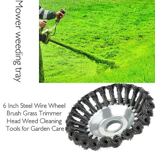 2019 New 6 Inch Steel Wire Wheel Brush Grass Trimmer Metal Steel Wire Head Gardening Tool Weed Accessories For Lawn Mower