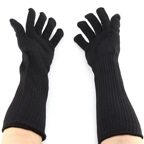 1Pair Anti Cut Gloves Stainless Steel Wire Metal Mesh Cut-resistant Gloves With Long Cuffs Hand Wrist Working Protection Mitten