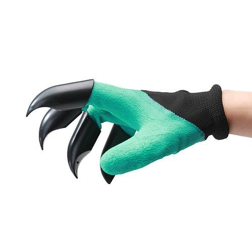 1 Pair Garden Gloves Garden Rubber Gloves With Claws Rubber Polyester Builders Garden Work Latex Gloves