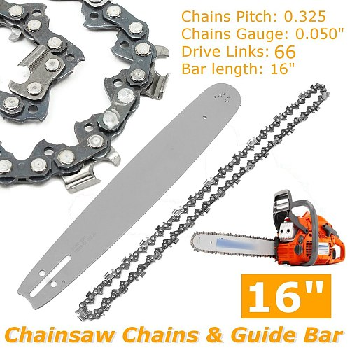 2Pcs/set  16 inch Chainsaw Chains +Guide Bar Semi Chisel Chain For Husqvarna POULAN 36 41 50 51 55  346XP 450 455 460 66DL