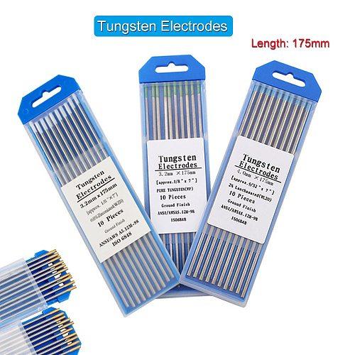 10pcs 175mm Tungsten Electrode Welding Electrodes Rods WC20 WT20 WP WL15 WZ8 WL20 WES Welding Tungsten Rod Tig Welding Electrode