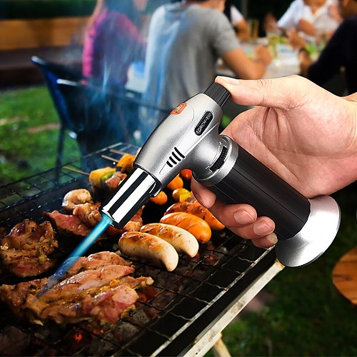 Flame Butane Micro Welding Torch Adjustable BBQ Soldering Gas Refillable Gas Cigar Lighter Spray Outdoor Cooking Torch