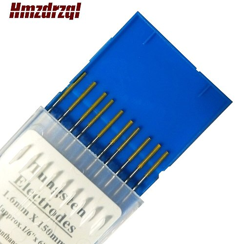 WL15 10Piece Gold Color 1.6mm*150mm Approx.1/16''x6''Lanthanated Tungsten Electrode Head Tungsten Needle/Rod For Welding Machine