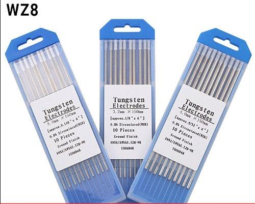 WZ8 10 Piece White 1.0/1.6/2.0/2.4/3.0/3.2/4.0mm*150mm  Zirconiated Tungsten Electrode Head Tungsten Needle/Rod For Welding Mach