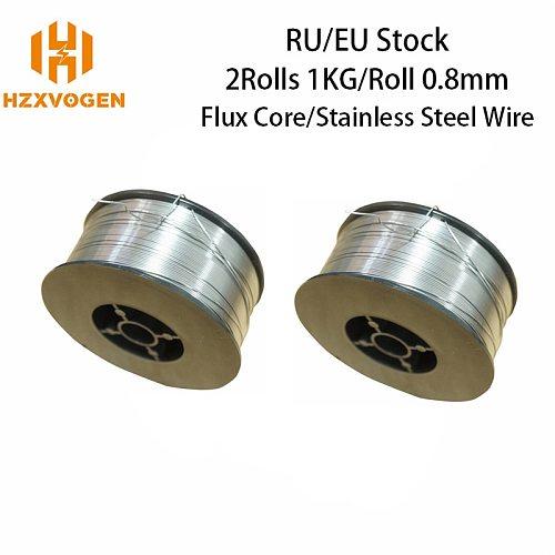 2 Rolls HZXVOGEN Solder For Welding Machine 0.8mm Flux Core Wire Stainless Steel Wire Fit Gas/Gasless ARC MMA MIG Welder