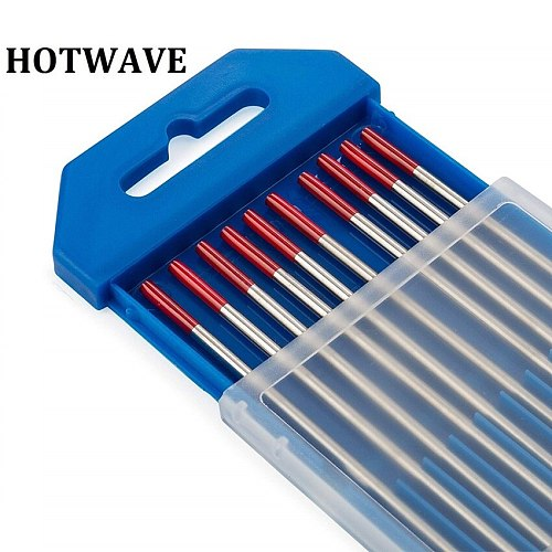 10pcs WT20 Ground Finish Red Tips Tig Welding Rods Tungsten Electrodes