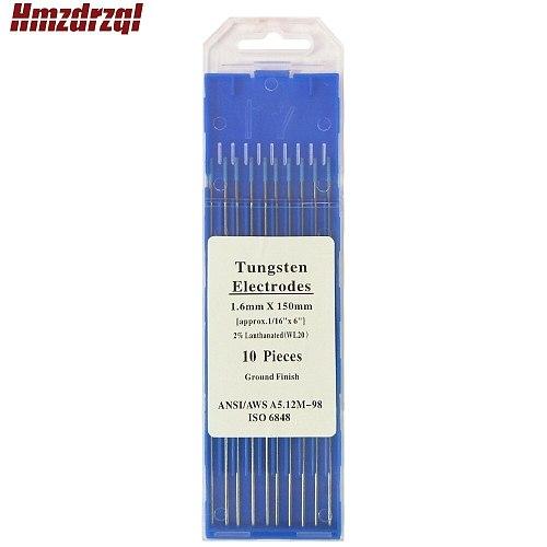 WL20 10 Piece Blue 1.6mm*150mm(Approx.1/16''x6'')Lanthanated Tungsten Electrode Head Tungsten Needle/Rod For Welding Machine