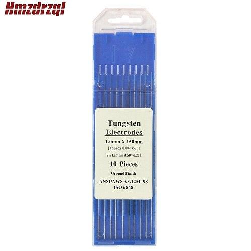 WL20 10 Piece Blue 1.0mm*150mm(Approx.0.04''x6'')Lanthanated Tungsten Electrode Head Tungsten Needle/Rod For Welding Machine