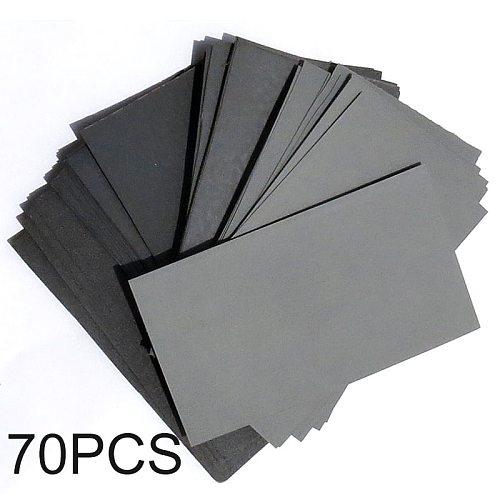 70pcs Wet Dry Sandpaper 600/800/1000/1200/1500/2000/2500Grit Abrasive Paper For Automotive Sanding Wood Furniture Finishing