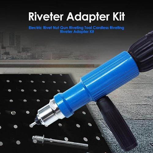 Electric Rivet Nut Gun Riveting Tool Cordless Riveting Riveter Adapter Kit Riveter Insert Tool Drill Adaptor Nut Too Nail Gun