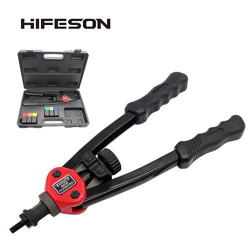 HIFESON BT-605/606 Riveter Gun Hand Riveting Kit Nuts Nail Gun Household Repair Tool Auto Riveter M3 M4 M5 M6 M8 300PCS Iron Nut