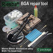 90mm Aluminium alloy BGA Reballing Station BGA Reball Kit Magnetism Lock 10pcs 90mm Universal Bga Stencil 9 pcs BGA solder ball