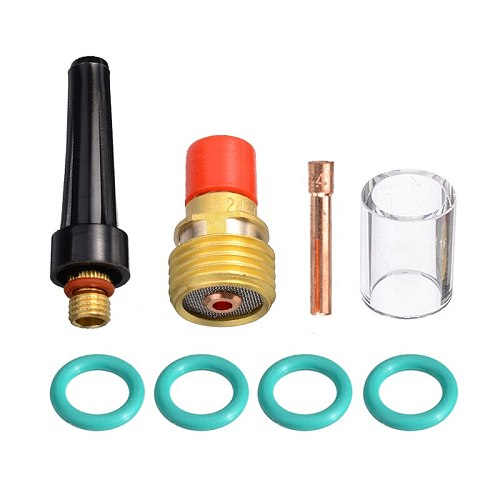 8pcs/set 2.4mm Durable TIG Welding Torch Stubby Tig Gas Lens #10 Pyrex Glass Cup Kit for WP-9/20/25 3/32  Welding Accessories