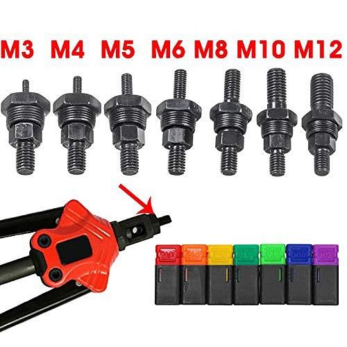 7PCS Metric M3 M4 M5 M6 M8 M10 M12 Rivet Nut Gun Mandrel and Nose Piece Riveter Tip Spare Part