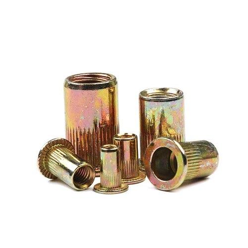 10Pcs/Lot Carbon Steel Rivet Nuts M3 M4 M6 M8 M10 Nuts Insert Riveting Flat Head Rivet Nuts Set