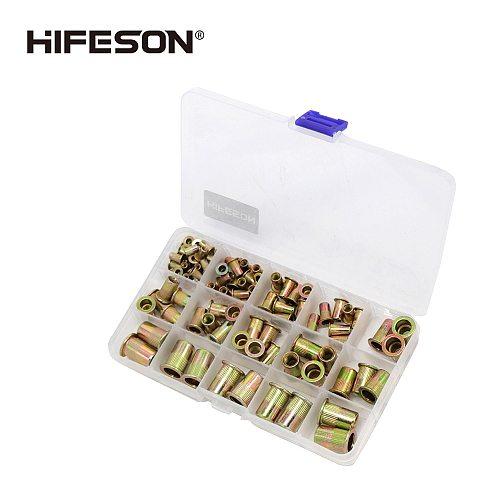 HIFESON 95Pcs and 300Pcs  Steel Rivet Nut Rivnut Insert Nutsert KIT M3 M4 M5 M6 M8 M10 for Rivet Nut Gun Riveting Riveter Tool