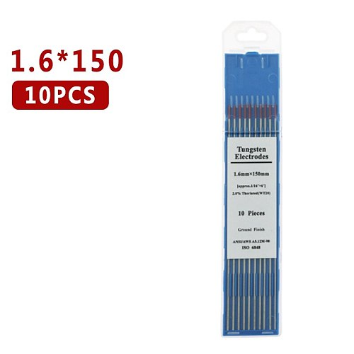 Welding Soldering Supplies WT20 2.4mm X 150mm 3/32  X 6  10pcs Red Tip 2% Thoriated TIG Tungsten Electrode Welding Tips 10Pcs