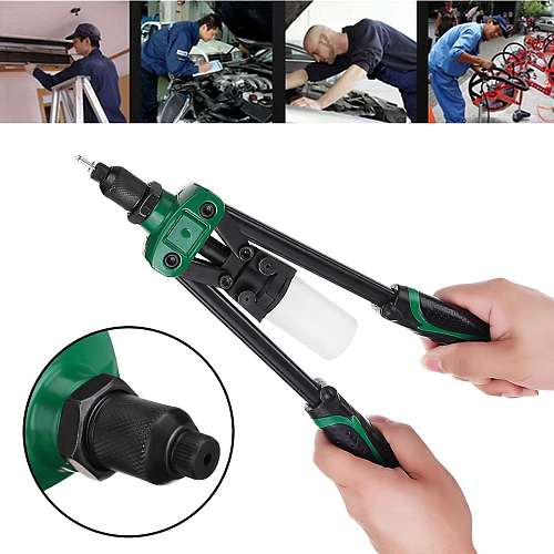 13 Inch Hand Threaded Rivet Nuts Gun Hand Riveter Household Industrial Manual Rivet Tool for 2.4/3.2/4.0/4.8/6.4mm Riveter Head