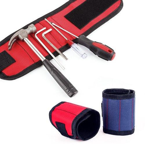 Strong Magnetic Magnet Wristband Pocket Wrist Support Tool Bag Hand Bracelet Pouch Bag Screws Drill Holder Holding Storage Bag