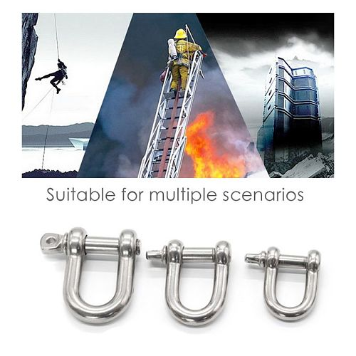 5Pcs Stainless Steel D Shackle Durable Chain Connecting Buckle for Outdoor Camping Hiking Coupling Chain Lifting Shackle