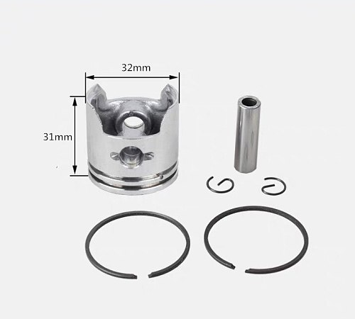 PISTON ASSY 32MM FOR 1E32F 32F 23CC 2 STROKE FREE POSTAGE KOLBEN W/ RIGNS PIN CIRCLIPS STRIMMER PARTS