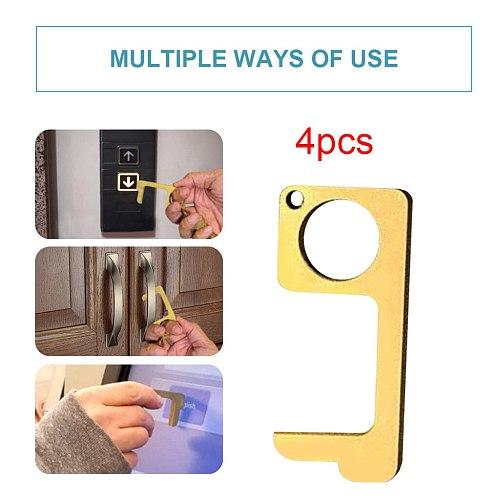 4pcs No Touch Open Door Assistant EDC Door Opener Family Health Convenient Easy to Carry Door Handle Key Dropshipping d3
