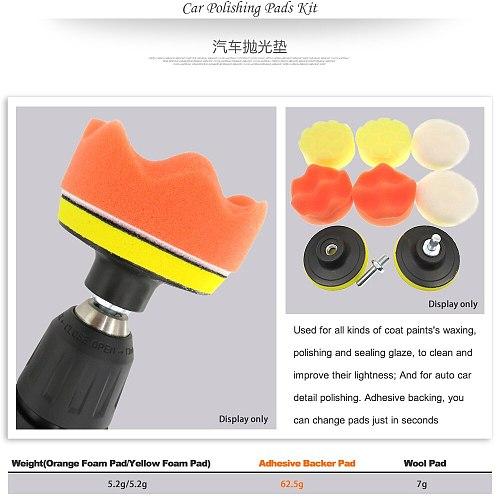3 Inch 8Pcs/Set Car Polishing Pads Kit Clean Sponge Waxing Buffing Pad Wheel Wool Ball Accessory Auto Backer Pad Washing Set