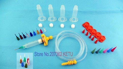 Air Syringe SMT SMD PCB Solder Paste Adhesive Glue Liquid Dispenser Kit(Syringe barrels, Adapter, dispense tips)