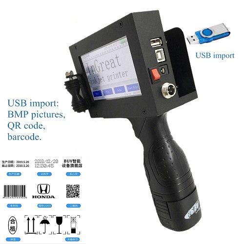 Handheld Touch Screen Inkjet Printer Laser coder Label Print Machine 600DPI 12.7mm USB QR Code QR Bar code Production Date logo
