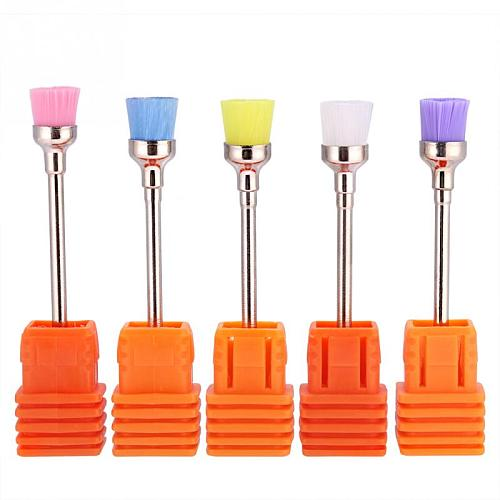 5PCS/Lot Nail Polish Grind Drill Clean Brush Head for Electric Nail Drill Machine Nail Dust Remover