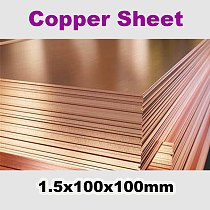 T2 Copper Sheet 1.5x100x100mm High Pure 99.9% Cu Tablets Strip Shim Thermal Pad Copper Plate DIY Material Metal Laser Cutting