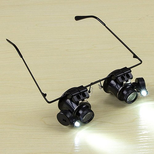 ACEHE 20X Glasses Type Double Eye Binocular Magnifier Watch Repair Tool Magnifier with Two Adjustable LED Lights