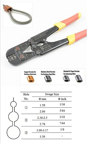 1PC Presszange Swage Ferrule Sleeves Crimping Tool+Steel Wire Rope Cutter For 1.5-3.5MM Wire Rope And All Types Ferrule