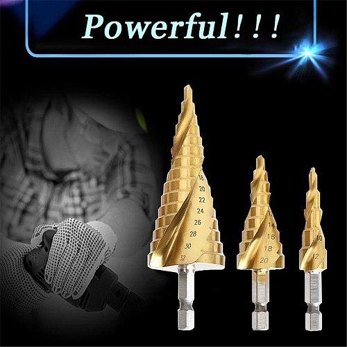 HSS Spiral Grooved Step Drill Bit 4-12/20/32mm Wood Drill Bit Set Carbide Mini Drill Accessories Titanium Cone Drills for Metal