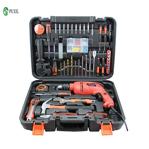 120 woodworking electric hardware tool set electric drill household toolbox electrician maintenance combination set impact drill