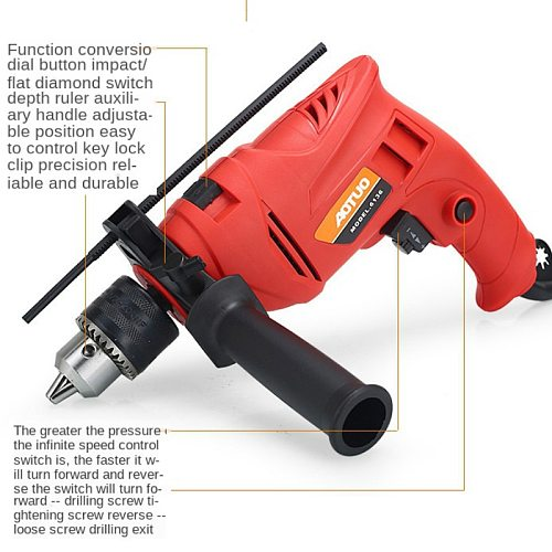 Spot Impulse Electric Drill Multi-function Electric Drill Dual-purpose Hand Electric Drill Multi-function Domestic Impulse Drill