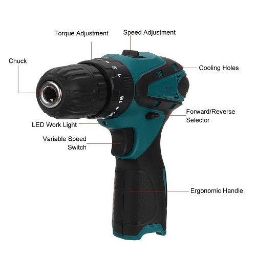 High-power Multifunctional Electric Cordless Drill 10.8V Cordless Screwdriver Rechargeable Hand Drills BL1014 Battery Power Tool