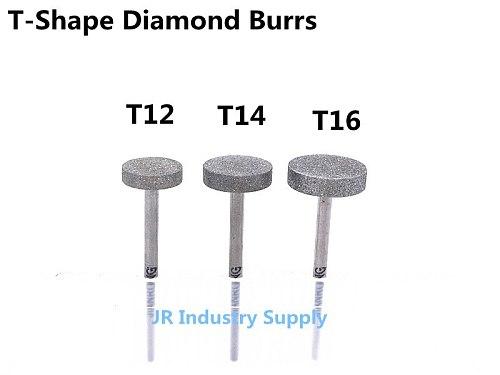 Jrealmer T-Shape Diamond Burrs bits Dremel Burr Rotary Tool Grinding Head Engraving Etching Abrasive tool