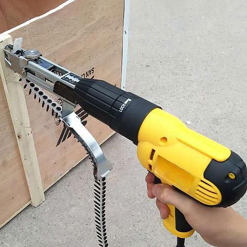 Chain nail gun adapter automatic screw spike electric drill woodworking tool Electric Automatic Chain Belt Nail Screw Gun Screwd