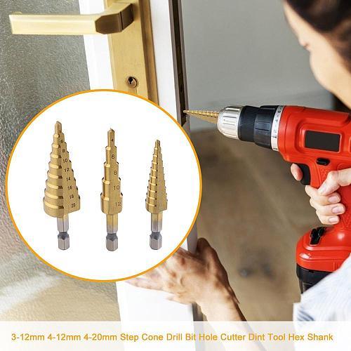 3pcs Step Cone Drill Bits Hole Cutter Drilling Tools 3-12mm 4-12mm 4-20mm Step Drills shank Coated Metal Drill Bit Set Hole