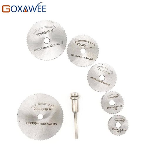 7pcs Cutting Disc for Dremel Rotary Tool Electric Grinding Rotary Blades Cutting Accessories Mandrel Cut-off Circular Saw Tools